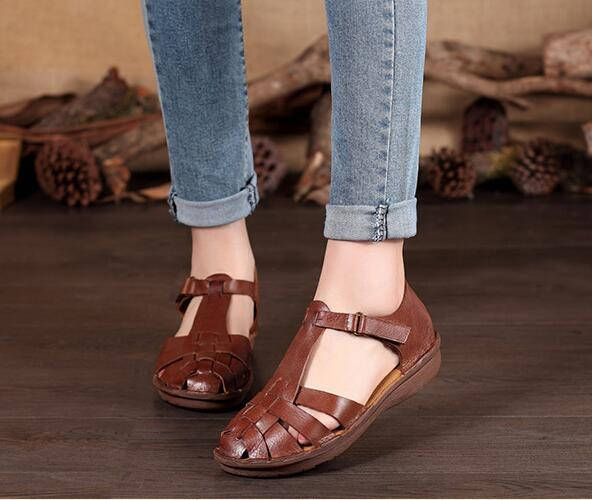 Handmade Brown Women Leather Sandals Flat Hollow Shoes Soft