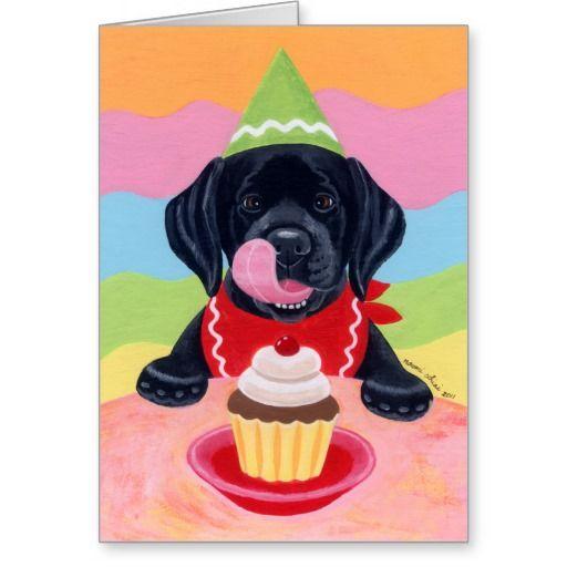 Black Lab Puppy Birthday Cupcake Painting