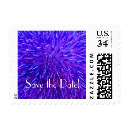#Save the Date Purple Floral Abstract Postage Stamp - #giftidea #gift #present #idea #number #twenty #twentieth #bday #birthday #20thbirthday #party #anniversary #20th