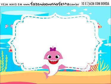 Aviso para Comida Festa Baby Shark Rosa Festa, Convite