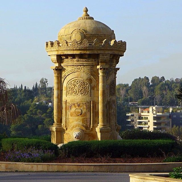 Ottoman fountain at #baabda built by the order of the moutasarreif Ismail hakki in 1917... This fountain was displaced few meters from its original location in 1995.