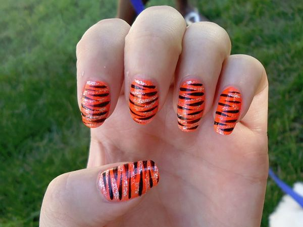 16 best pattern nail art images on pinterest pattern nails tiger striped nails prinsesfo Choice Image