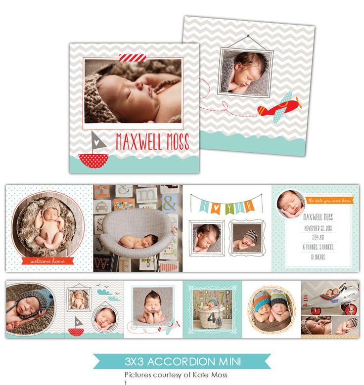 Baby Announcement 3x3 Accordion mini template Little por birdesign