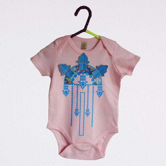 Pink and Blue EMBELLISHED BABYGROW. Organic cotton by dAKOTArAEdUST