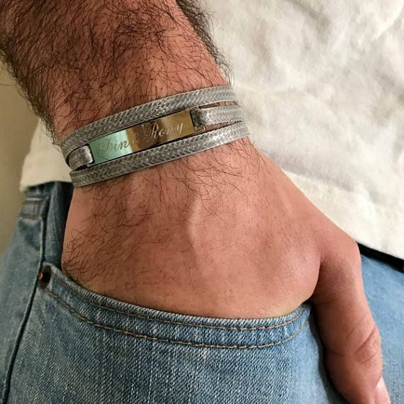 Men's Personalized Bracelet - Men's Engraved Bracelet - Customized Men Bracelet - Men's Initial Bracelet - Men's Coordinates Bracelet  The simple and beautiful bracelet combines gray fabric strip which wrap 3 times on hand and a silver plated palette you can engrave on it names, dates, symbols ... $36