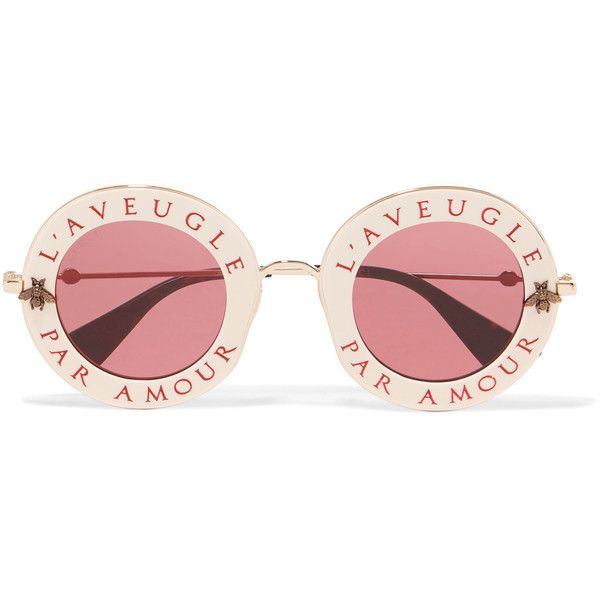 Gucci Round-frame acetate and gold-tone sunglasses ($505) ❤ liked on Polyvore featuring accessories, eyewear, sunglasses, round frame glasses, acetate sunglasses, rose sunglasses, round tortoise sunglasses and round tortoiseshell sunglasses