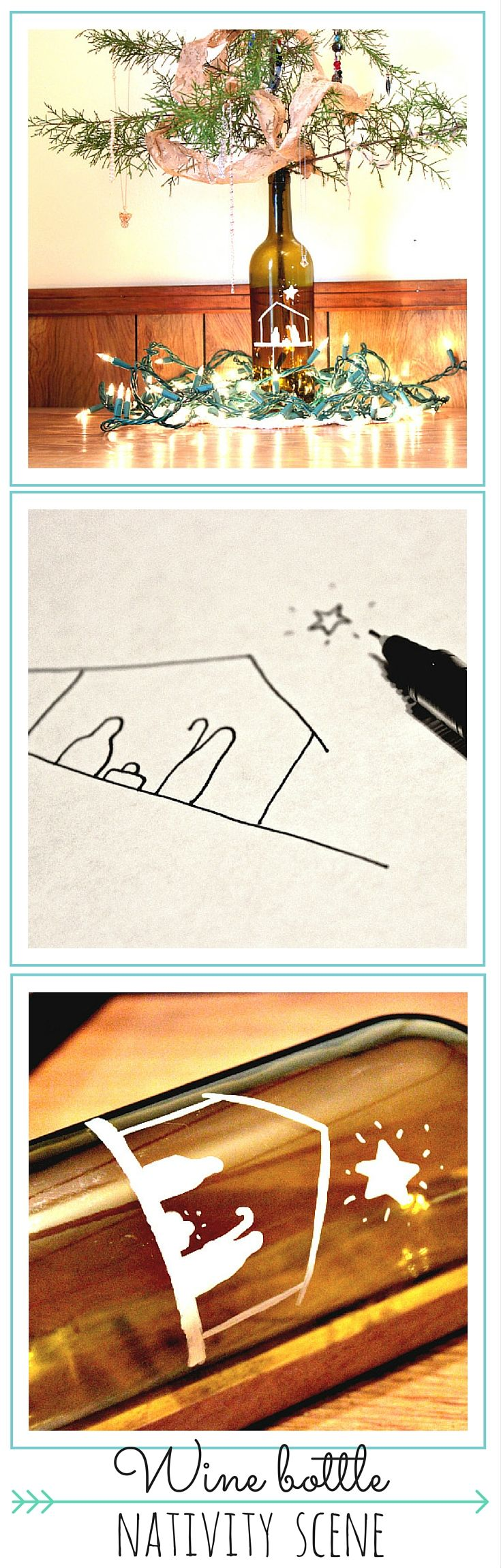 Wine and a craft? Woot! I'm in! When your bottle is empty, remove the labels, draw a simple nativity scene with a white Sharpie paint pen, add a Charlie Brown tree, and boom. The halls have been decked. :)