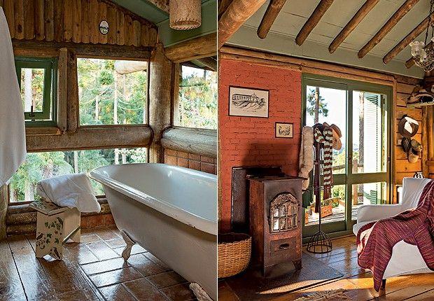 Sala de banho: A Serrada Mantiqueira é a vista que os moradores têm da banheira vitoriana de 1,80 m, comprada na O Velhão. O piso de cerâmic...