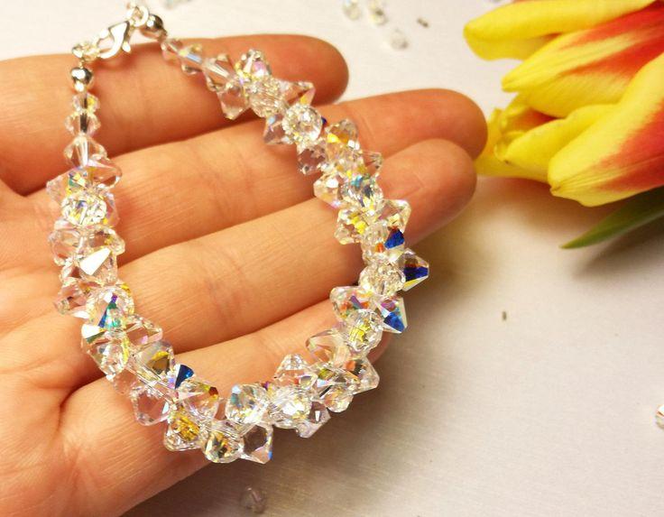 Bridal Wedding Swarovski Bracelet, Crystal Bracelet, Swarovski Bracelet, Swarovski Crystals, Aurora Boreale Bracelet, Special Day Bracelet by AuroraCrystalPassion on Etsy