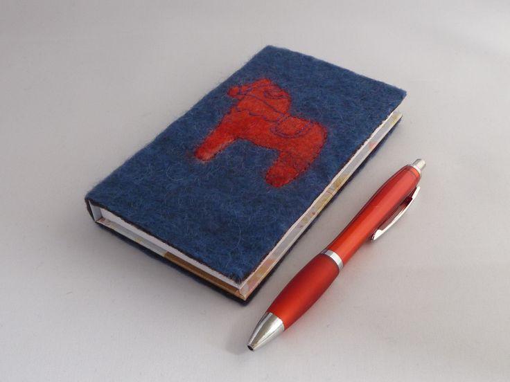 Dala Horse Address Book - Hand felted by Deborah Iden.  Follow LittleDeb on Folksy, Etsy, Pinterest and Facebook.
