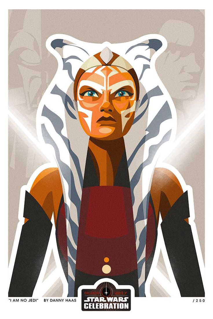 """""""I Am No Jedi"""" by Danny Haas: """"I can finally share my exclusive art piece selected by Lucasfilm for Star Wars Celebration Orlando. I was super excited and honored to be a part of this art show. Acme Archives will be doing a preorder of the print soon to people attending the show for pick up and I will have some at the show to sell as well. Limited edition of only 250. Ahsoka to me was the best thing to come out of the Clone Wars cartoon and I loved her so much on Rebels. Really happy…"""