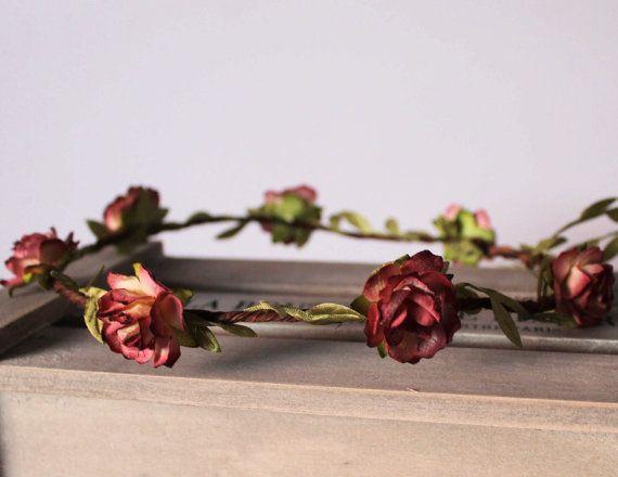 Burgundy Floral Crown Festival Halo Flower Girl by Flashfloozy