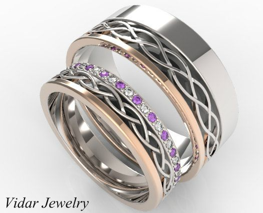Diamond Amethyst Alternately Matching Wedding Band Set-Unique Matching Wedding Band Set In Multi Gold Tone,His And Her Matchig Rings by Vidarjewelry on Etsy