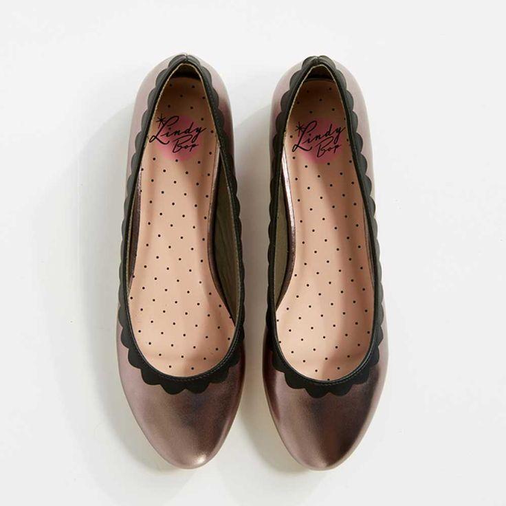 Lindy Bop Greer Pewter ballerina pump metaal grijs - Vintage, 50's, Ro