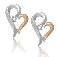 2 Tone 10K White And Rose Gold Diamond Earrings