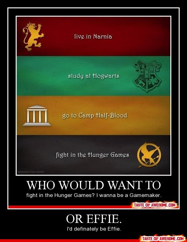 Um, duh, Camp half Blood, chilling with Susan Lucy katniss and Hermione but I could do with out the hunger games