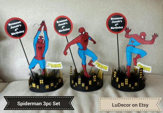 3 Pc Spiderman Centerpiece Set Other superheros by LuDecor on Etsy