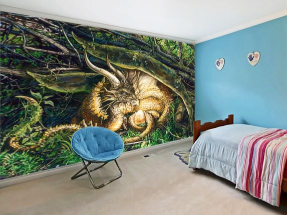 43 best fantasy and sci fi wall murals images on pinterest for Dragon mural wallpaper