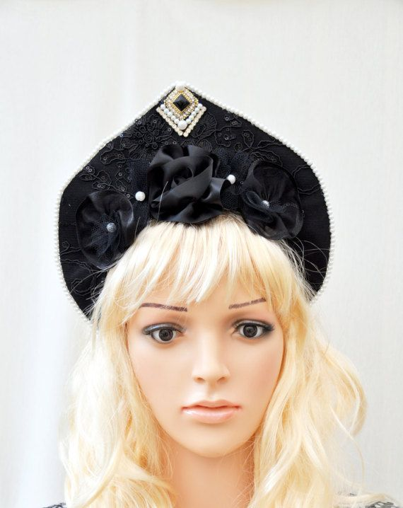 Black Victorian Kokoshnik, Gothic Lolita Headpiece, Black Fascinator Kawaii Headdress,  Fantasy Costume Headdress, Festival Flower Headdress  #black #victoriankokoshnik #gothic