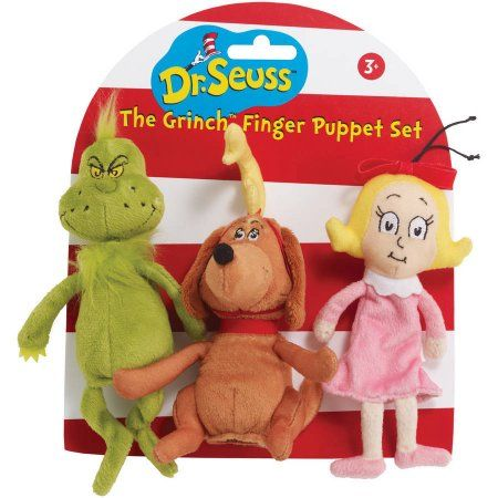 Manhattan Toy Dr. Seuss The Grinch Finger Puppet Set, Multicolor