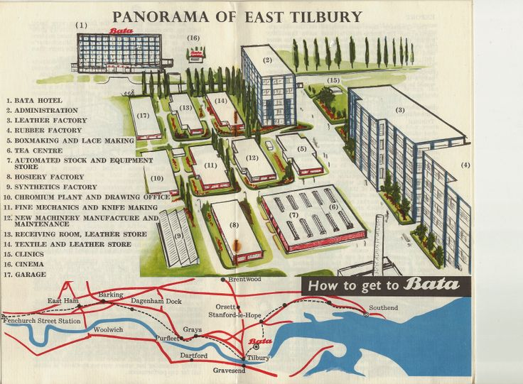 Bata East Tilbury pictorial panorama plan of factory units 1965