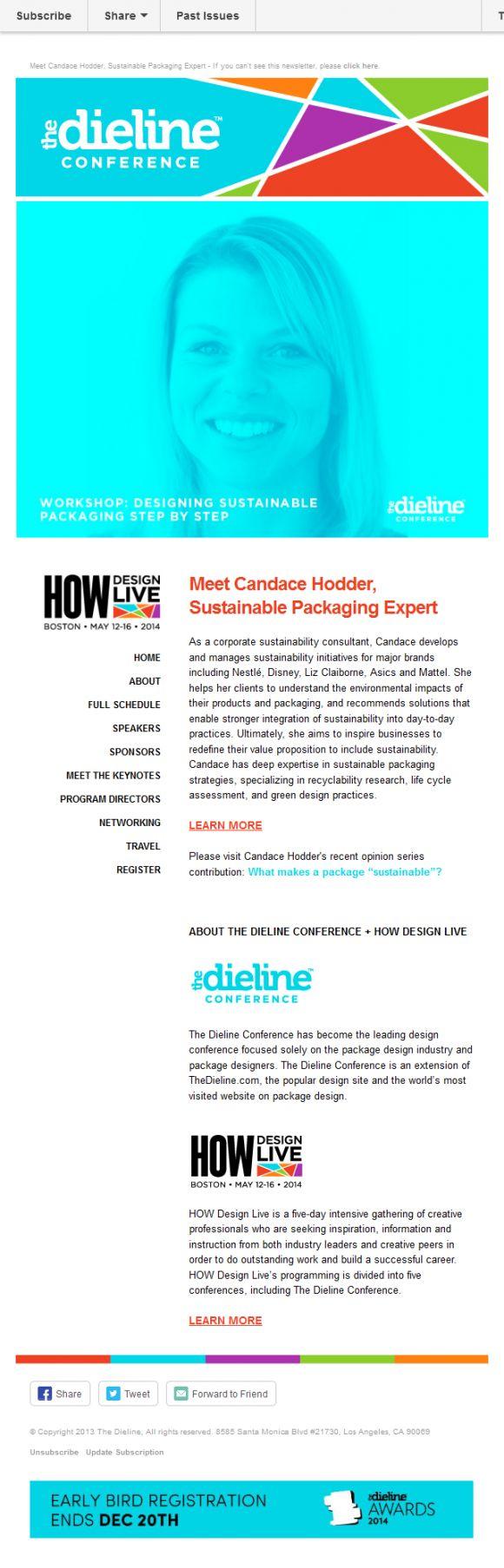 The Dieline Conference – Newsletter HTML email marketing design