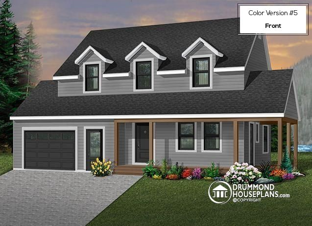 Transitional two-storey house plan, 3 bedrooms, master suite, large covered porch, great style (# 2808)   http://www.drummondhouseplans.com/house-plan-detail/info/maggi-transitional-1000229.html