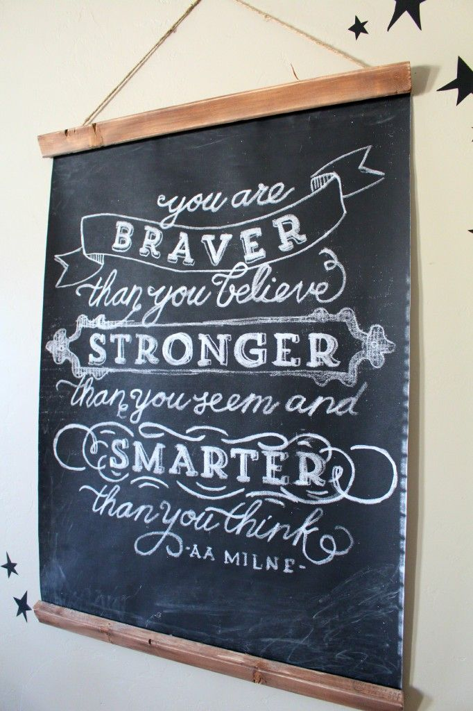 Chalkboard. 'You are Braver than you believe. Stronger than you seem and Smarter than you think' A A Milne