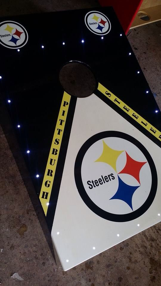 Any Pittsburgh Steelers Fans out there? Check out these Cornhole boards with lights made by One Shot Boards, Inc. Orders@oneshotboards.com | www.oneshotboards.com #cornhole #lights #steelers