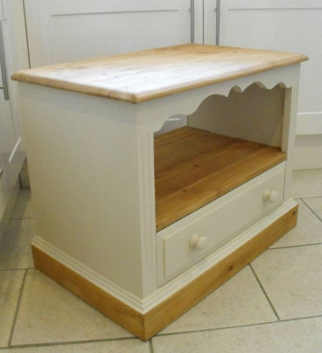 TV Cabinet / Unit with Shelf & Drawer in Autentico Paint Cocos