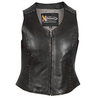 Xelement Women's Studded Zipper Front Motorcycle Leather Vest