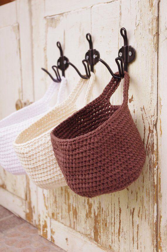 Wall Hanging Storage Basket Modern Boho Home Decor Home Etsy Hanging Storage Crochet Basket Storage Baskets