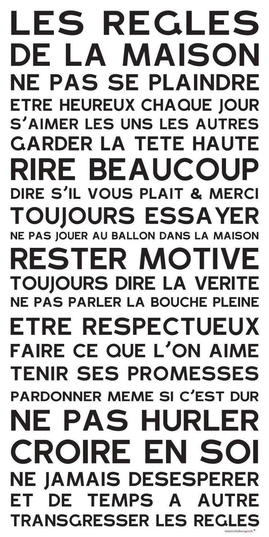 Les règles de la maison - Ne pas se plaindre - Être heureux chaque jour - S'aimer les uns les autres - Rire beaucoup #printable #poster #postive #happy