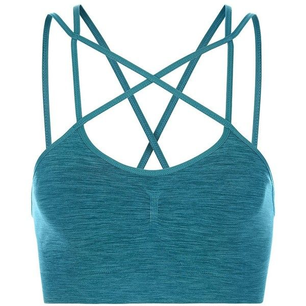 Sweaty Betty Shanti Yoga Bra (£45) ❤ liked on Polyvore featuring activewear, sports bras, darkteal, yoga sportswear, strappy sports bra, blue sports bra, yoga activewear and yoga sports bra