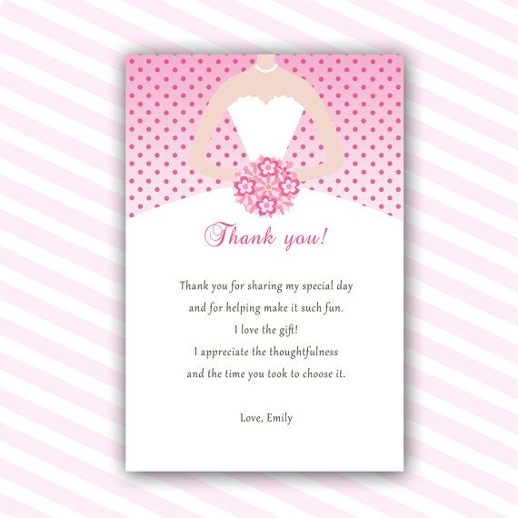 Thank You Notes For Bridal Shower Gifts Wording : Dress Thank You Cards Bridal Shower Thank You Notes Sweet 16 Thank You ...