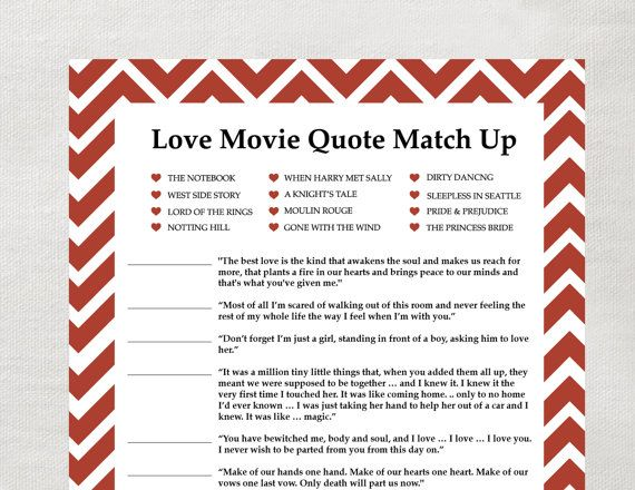 INSTANT Love Quote matchup Instant Download Bridal Shower Game