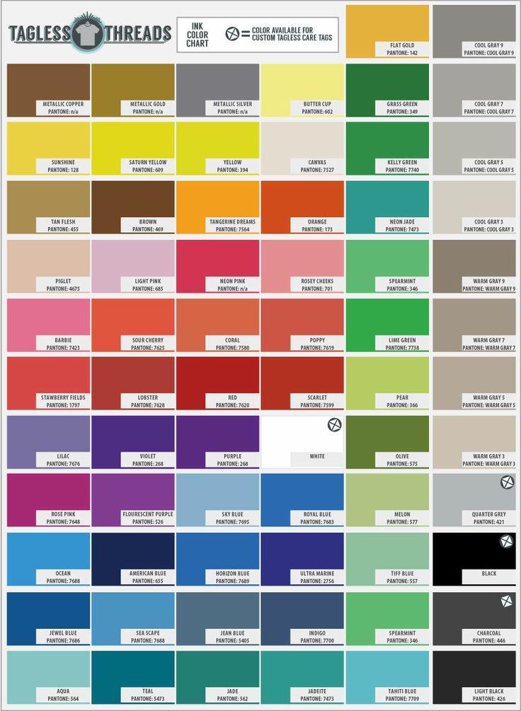 Common T Shirt Ink Colors Pms Colors Graphic Design