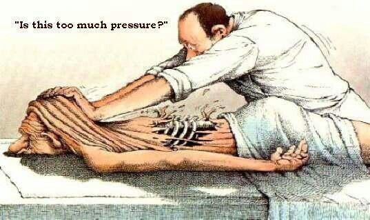 Massage humor, always let your therapist know if the pressure is too much...