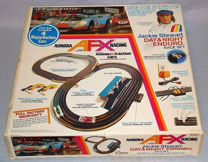 aurora afx jackie stewart day night enduro ho race set box lid love it i use to have the exact same set when i was a kid