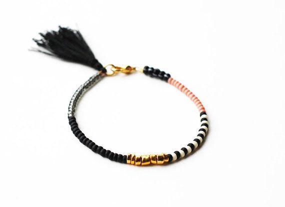 Friendship Bracelet with Tassel - Black Gold Grey Rose Pink Bracelet - Layering Bracelet