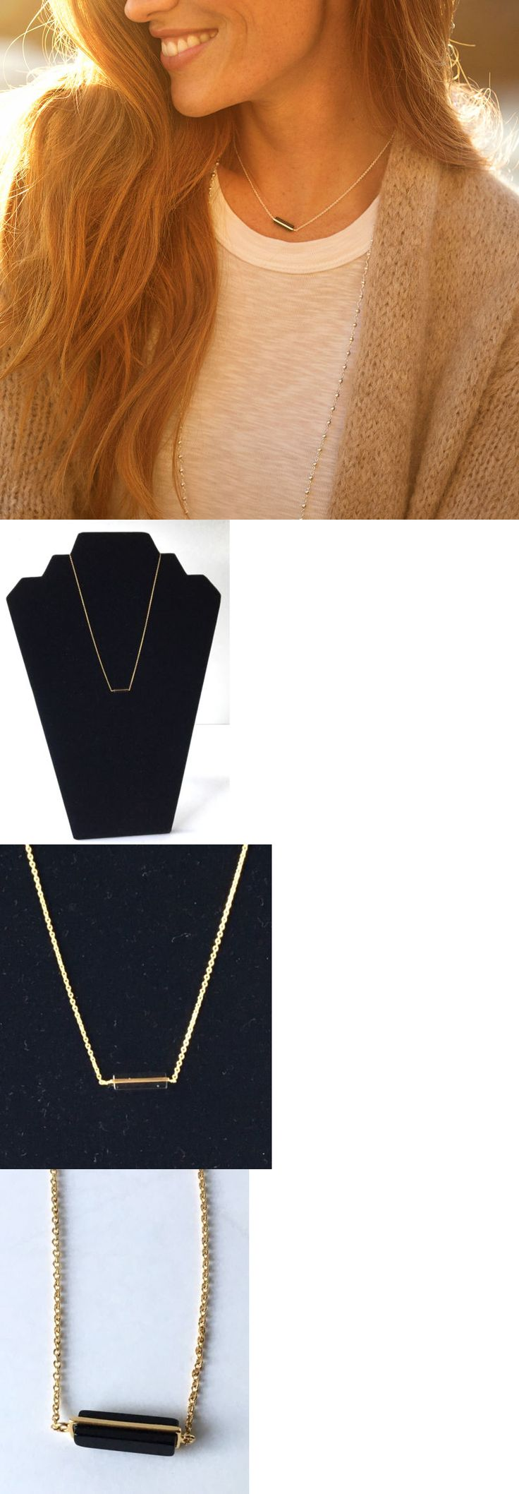 Necklaces and Pendants 155101: Gorjana Dez Bar Pendant Necklace 18K Gold Plated Black Obsidian Stone New -> BUY IT NOW ONLY: $34.2 on eBay!