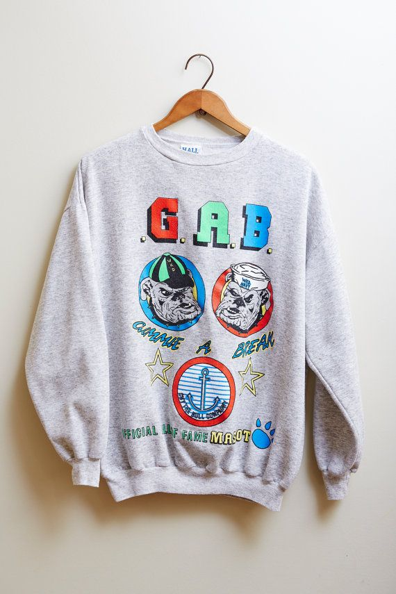 1990s Hall of Fame Sweat Shirt Light Grey Sweatshirt with Bulldogs