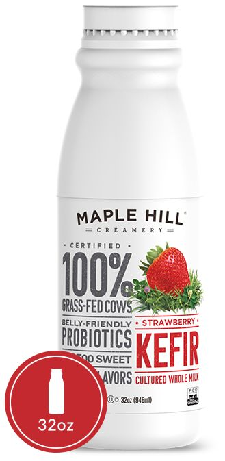 "Maple Hill Creamery - 100% Grass Fed Strawberry Kefir. The ""cleaner"" kefir! No added anything (except lots of love) and real, fresh berries."