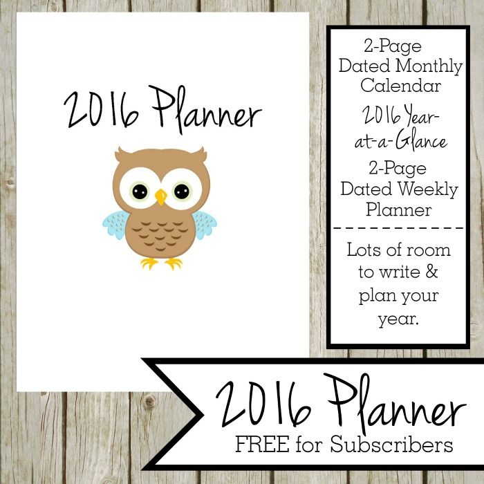FREE 2016 Planner - This FREE 2016 planner includes the following:2016 Planner Cover Page, Title Page, 2016 Year-at-a-Glance...