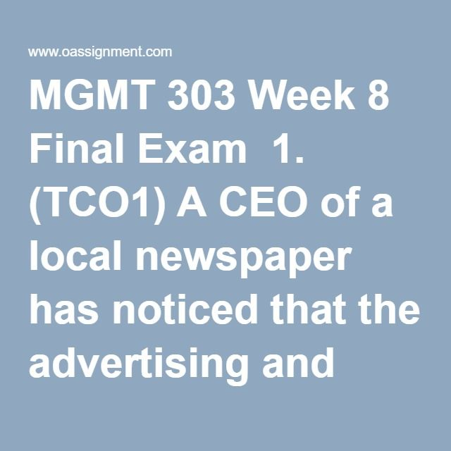 MGMT 520 FINAL EXAM Week 8/MGMT520