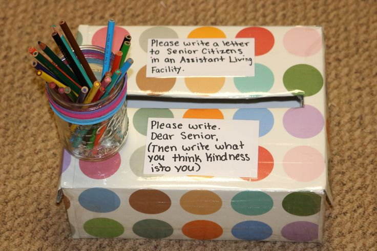 Letter box to continue to kindness for children to write letters to seniors in assisted living facilities.