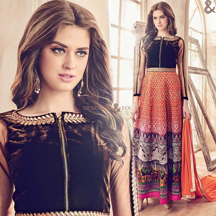 Designer Anarkali Suits Straight Cut Designs: Latest Boutique's front slit dresses | DesignersandYou