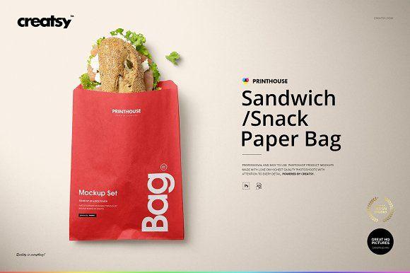Download Sandwich Snack Paper Bag Mockup Set Bag Mockup Paper Bag Sandwiches
