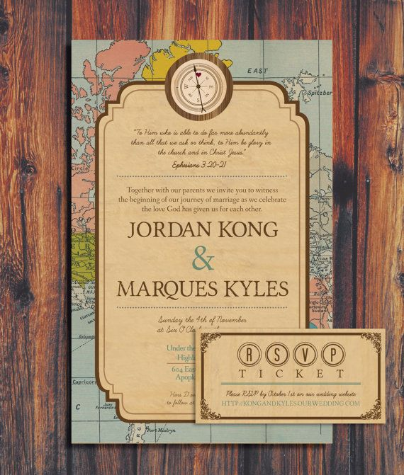 Travel Theme Wedding Invitation by ConteurCo on Etsy, $50.00...I'm kind of in love with these.