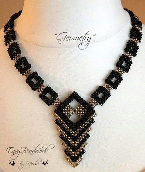 Geometric stead bead necklace